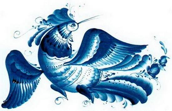 Гжельская роспись птица