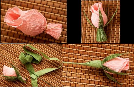 Как сделать розу без конфет из гофрированной бумаги
