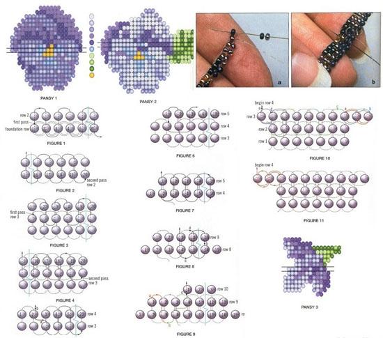 Плетение анютиных глазок из бисера