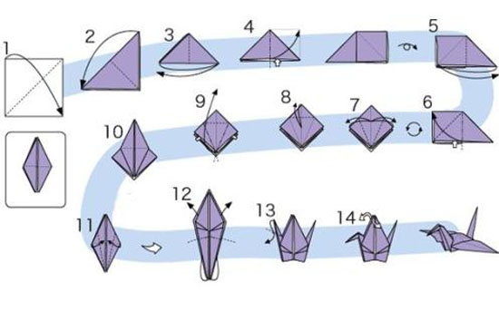 журавлик оригами, схема