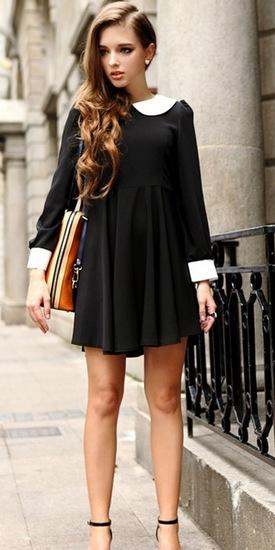 Платье с завышенной талией черное