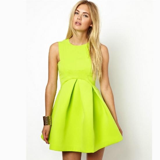платье с завышенной талией лимонное
