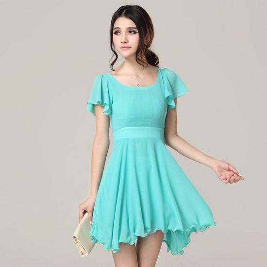 платье с завышенной талией бирюзовое