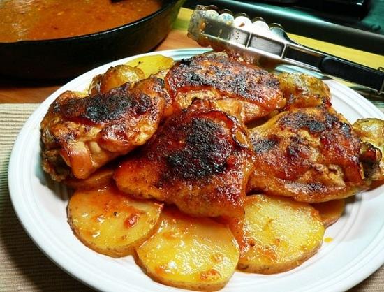 курица с картошкой в духовке в медово горчичном соусе
