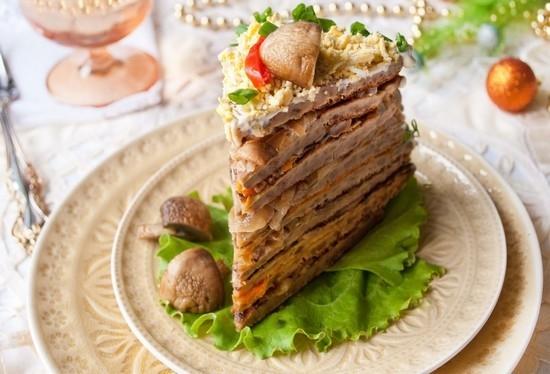печеночный торт из говяжьей печени рецепт пошагово с фото с грибами