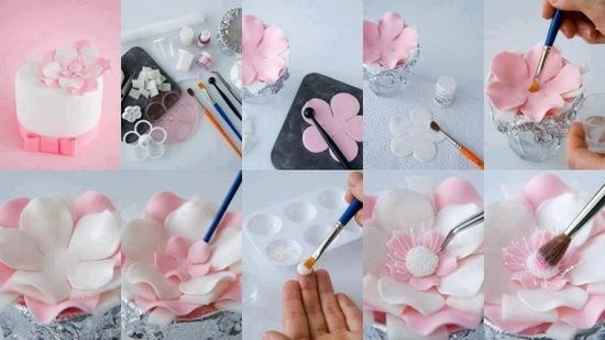 Цветы на торт из мастики своими руками