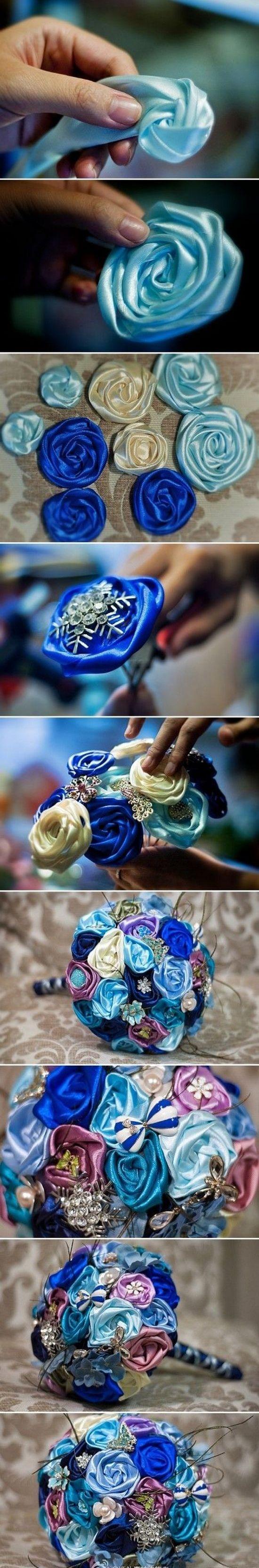 Технология создания роз для букета из лент