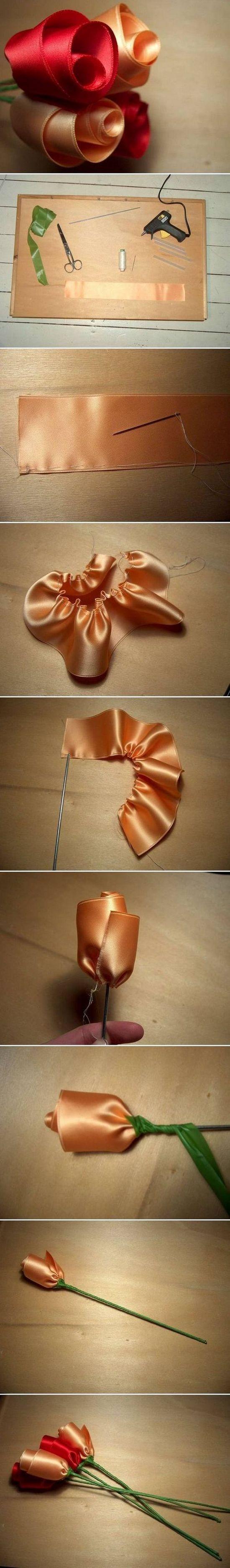 Как сделать бутоны роз из атласной ленты?