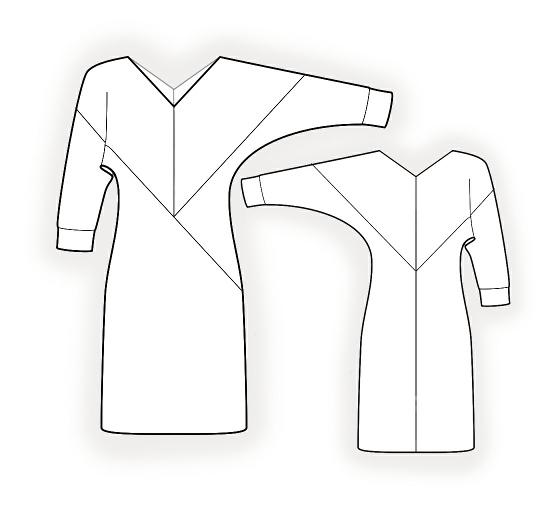 Выкройка прямого платья с цельнокроеным рукавом
