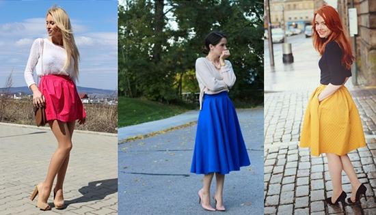 С чем носить юбку колокол с завышенной талией