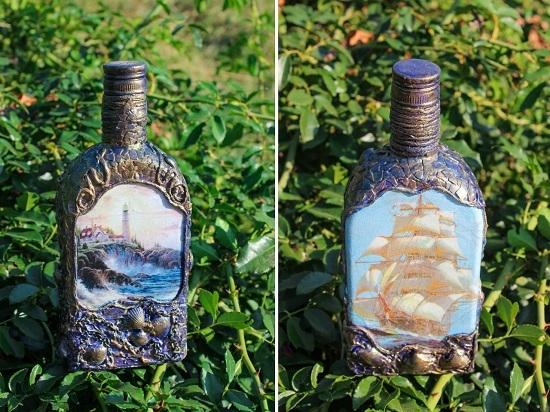 Оригинальные идеи декупажа бутылок своими руками