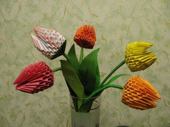 Тюльпан из бумаги объемный тюльпан