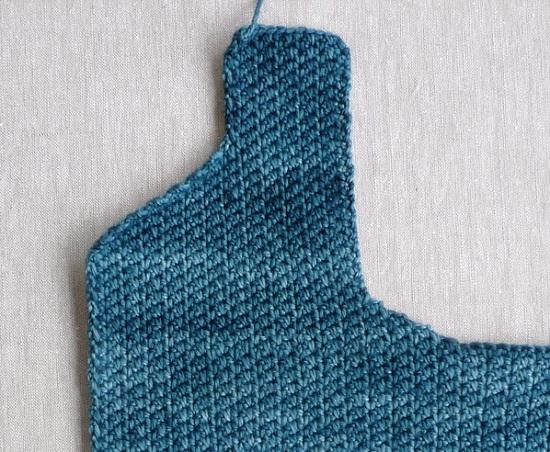Вязание левой полочки
