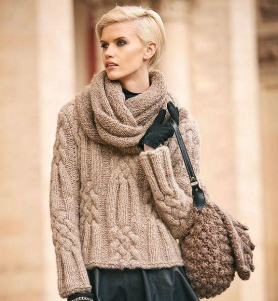 Женский свитер с косами: схема с описанием