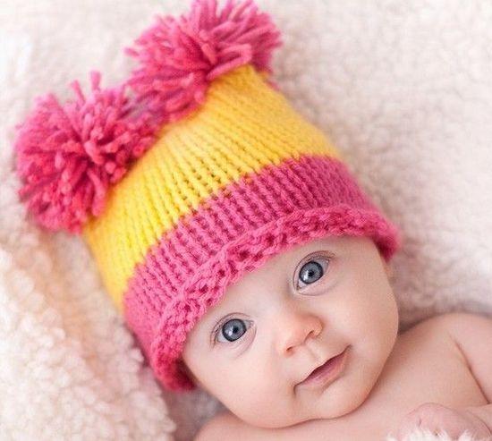 вязаная шапочка для новорожденного спицами схемы Ls