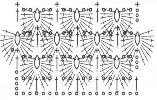 Схема вывязывания листочков