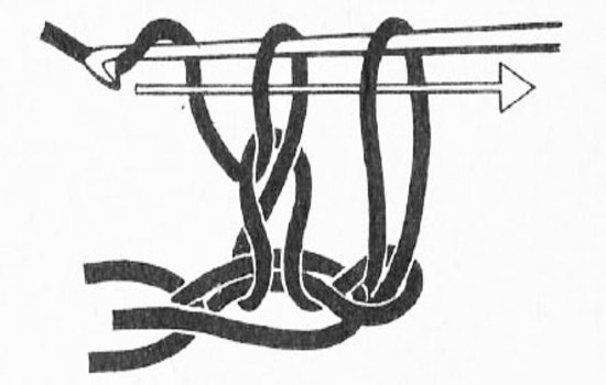 Чередование воздушных петель и столбцов с накидами