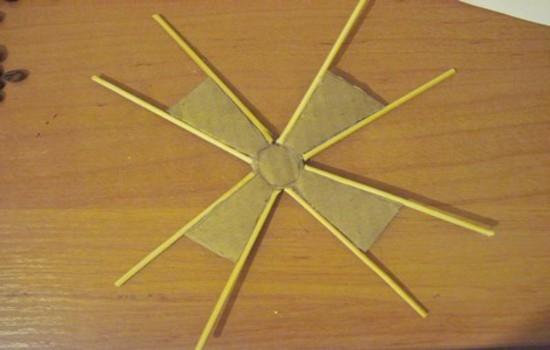 Мельница из шпагата и кофейных зерен: изготовление