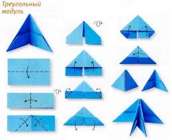 Как из треугольников сделать лебедя фото