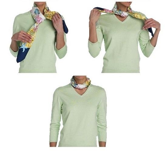 """Как завязать платок на шее узлом """"кольцо-жгут"""": схема"""