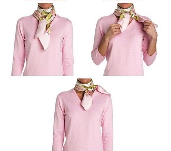 Как завязать платок на шее французским узлом: схема