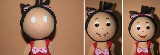 Кукла из фоамирана: лицо