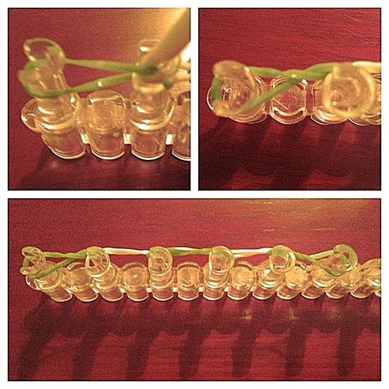 Браслет из резинок драконья чешуя: перекрещивание столбиков