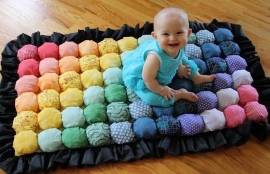 Детские коврики из помпонов своими руками