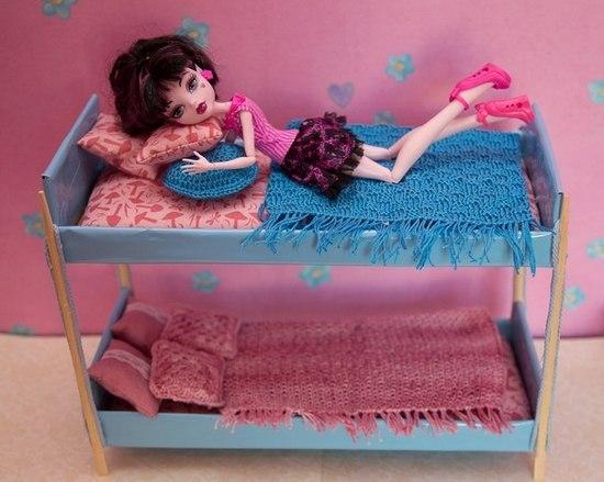 двухэтажная кровать для кукол своими руками