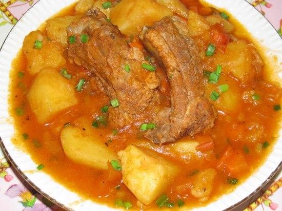 Ребрышки тушеные с картошкой рецепт пошагово в