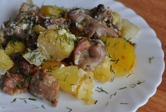 Куриные желудки второе блюдо