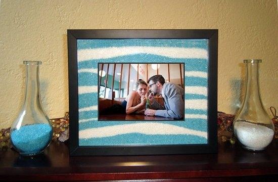 Песочная церемония на свадьбе: фоторамка на память