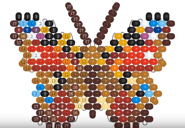 Бабочки из бисера мозаичным плетением: схемы