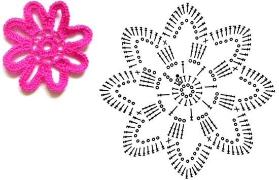 Простая схема вязания цветков