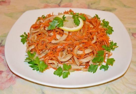 фунчоза с кальмарами рецепт скарейской морковкой