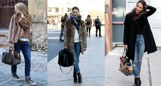 С чем носить джинсы-бойфренды зимой