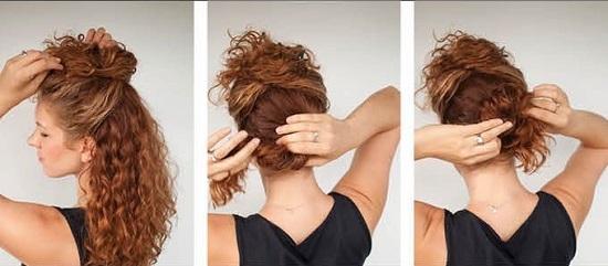 Как сделать пучок с кудрявыми волосами 704