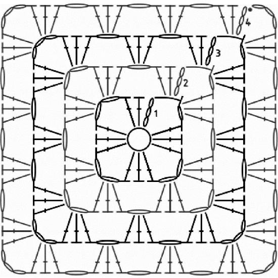 Бабушкин квадрат крючком: схемы
