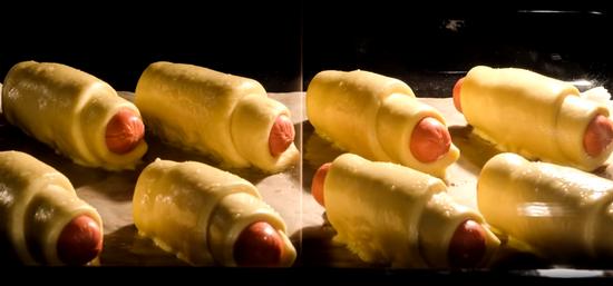 Сосиски в бездрожжевом слоеном тесте в духовке рецепт с фото пошагово