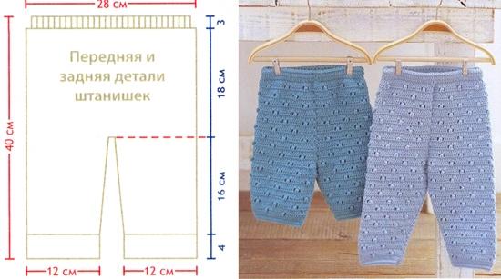 Вязание штанишек для новорожденного спицами: схема и описание