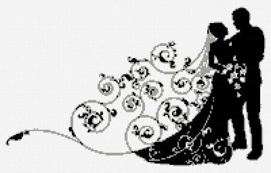 Схемы вышивки крестом: черно-белые пары