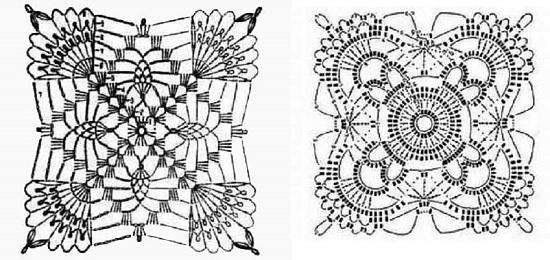 Квадратные мотивы крючком: схемы с описанием