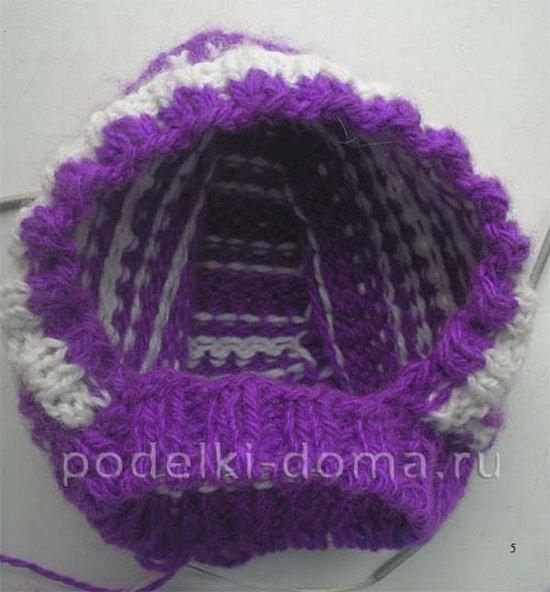 Шапка-шлем для девочки спицами
