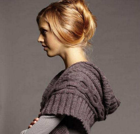Шарф-капюшон с воротником: схема вязания спицами