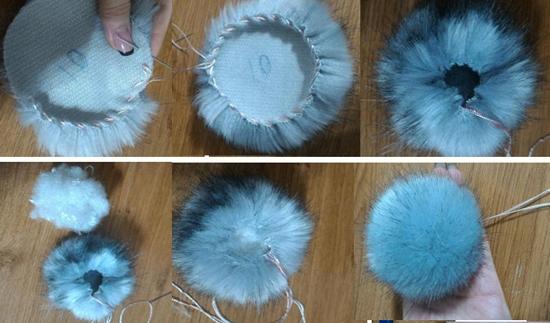 Как сделать помпон из меха на шапку?