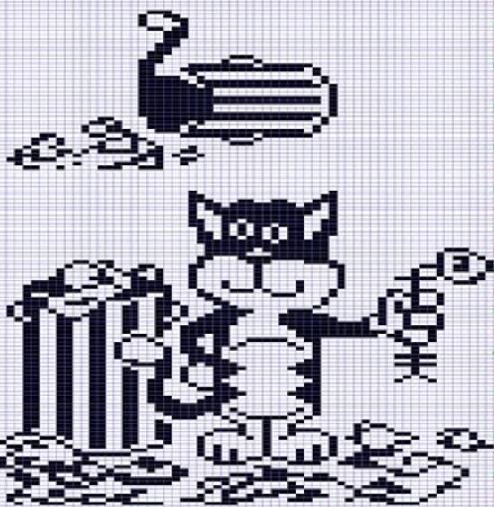 Схемы вышивки крестом: черно-белые кошки