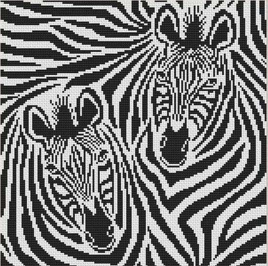 Черно-белые схемы вышивки крестом: зебры