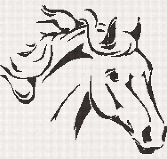 Черно-белые схемы вышивки крестом: лошадь