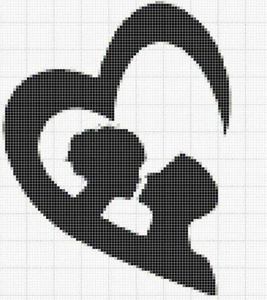 Черно-белые схемы вышивки крестом: пара