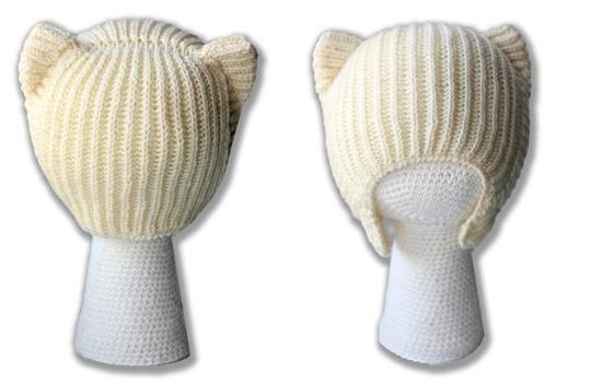 Детская шапка-кошка с завязками